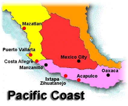 mexico pacific coast map Map Mexico Pacific Coast mexico pacific coast map